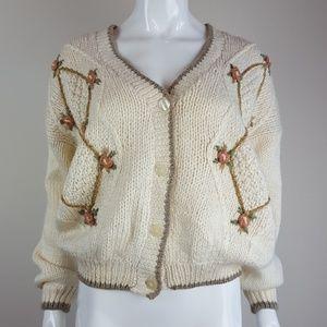 Vintage Cream Floral Granny Cardigan